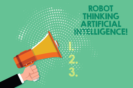 Text sign showing Robot Thinking Artificial Intelligence. Conceptual photo AI modern futuristic chat bot Male Hu analysis Hand Holding Gripping a Megaphone on Dotted Halftone Pattern