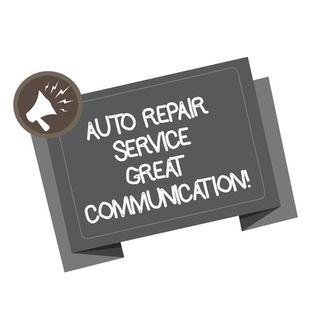 Word writing text Auto Repair Service Great Communication. Business concept for Car mechanic technician available Megaphone Shouting Broadcasting in a circle and Tilting Blank Folded Strip Stok Fotoğraf
