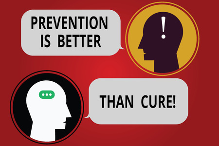 Writing note showing Prevention Is Better Than Cure. Business photo showcasing Always be aware of your health conditions Messenger Room with Chat Heads Speech Bubbles Punctuations Mark icon