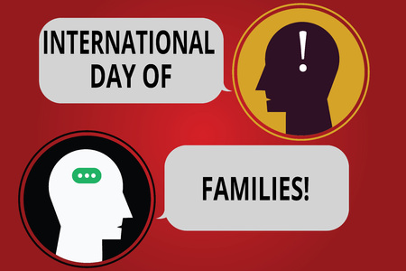 Writing note showing International Day Of Families. Business photo showcasing Family time togetherness celebration Messenger Room with Chat Heads Speech Bubbles Punctuations Mark icon