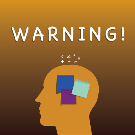 Writing note showing Warning. Business photo showcasing statement or event that warns of something or serves as example Sticky Note analysis Face Profile Silhouette Math sign above