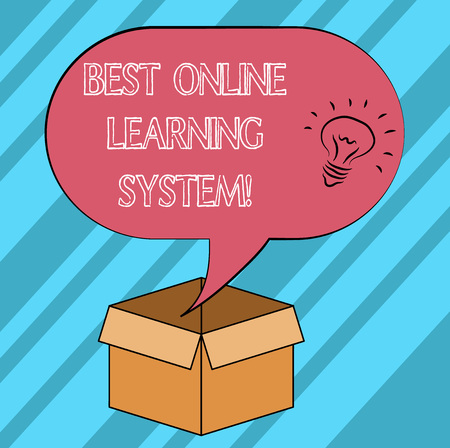 Text sign showing Best Online Learning System. Conceptual photo Top high quality elearning techniques Idea icon Inside Blank Halftone Speech Bubble Over an Open Carton Box