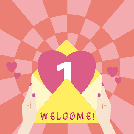 Handwriting text Welcome. Concept meaning instance or analysisner of greeting someone in polite or friendly way Female Hu analysis Hand Holding an Open Envelope with Big Heart coming out Stock Photo