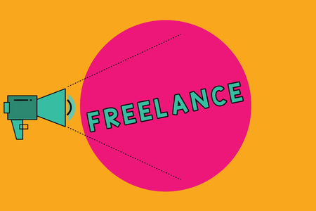 Text sign showing Freelance. Conceptual photo selfemployed hired to work for different companies on assignments Megaphone with Pitch Power Level Volume Sound Icon and Blank Circle Stock Photo