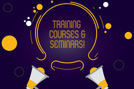 Writing note showing Training Courses And Seminars. Business photo showcasing Education professional learning improvement Two Megaphone and Circular Outline with Small on Color Background