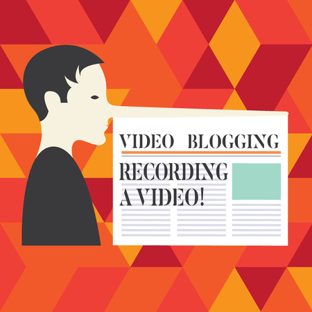 Writing note showing Video Blogging Recording A Video. Business photo showcasing Social media networking   influence Man with a Very Long Nose like Pinocchio a Blank Newspaper is attached