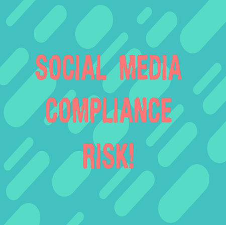 Word writing text Social Media Compliance Risk. Business concept for Risks analysisagement on the internet online sharing Diagonal Repeat Oblong Multi Tone Blank Copy Space for Poster Wallpaper