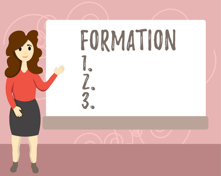 Conceptual hand writing showing Formation. Business photo text action of forming or process of being formed especially sport Female Hu analysis Presenting Rectangular Blank Whiteboard