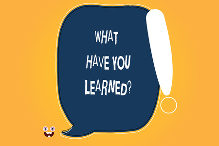Conceptual hand writing showing What Have You Learnedquestion. Business photo text Tell us your new knowledge experience Blank Color Speech Bubble Outlined with Exclamation Point