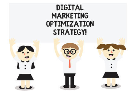 Word writing text Digital Marketing Optimization Strategy. Business concept for Social media advertising SEO Three School Kids with both Arms Raising upward are Singing Smiling Talking Stock Photo