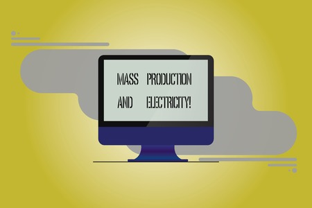 Conceptual hand writing showing Mass Production And Electricity. Business photo showcasing Industrial electrical power supply Mounted Computer Monitor Blank Screen on Abstract Background