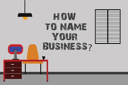 Writing note showing How To Name Your Businessquestion. Business photo showcasing Branding strategies Marketing promotion Minimalist Interior Computer and Study Area Inside a Room