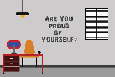 Writing note showing Are You Proud Of Yourselfquestion. Business photo showcasing Be aware of your accomplishments Minimalist Interior Computer and Study Area Inside a Room