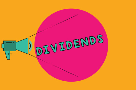 Text sign showing Dividends. Conceptual photo sum of money paid regularly by company to shareholders out profits Megaphone with Pitch Power Level Volume Sound Icon and Blank Circle