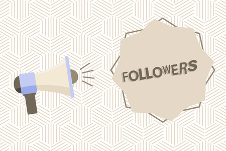 Text sign showing Followers. Conceptual photo demonstrating who supports and admires particular demonstrating or ideas Megaphone with Sound Volume Effect icon and Blank 8 Pointed Star shape