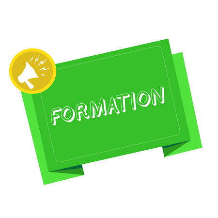 Writing note showing Formation. Business photo showcasing action of forming or process of being formed especially sport Megaphone Shouting in circle and Tilting Blank Folded Strip