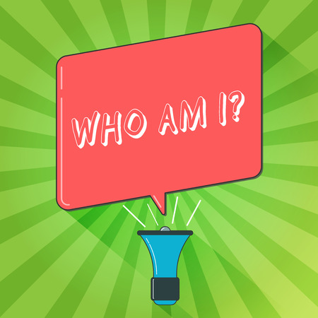 Handwriting text writing Who Am I question. Concept meaning when being asked about your name status and nationality Megaphone Make Voice Louder Handheld Amplifier and Blank Speech Bubble Banque d'images - 112983679