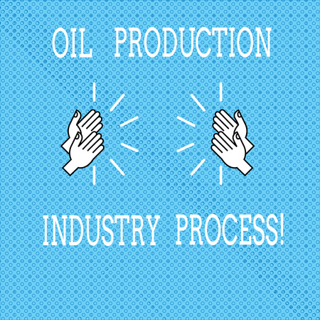 Text sign showing Oil Production Industry Process. Conceptual photo Petroleum company industrial processing Drawing of Hu analysis Hands Clapping with Sound icon on Seamless Tiny Circles Stock Photo