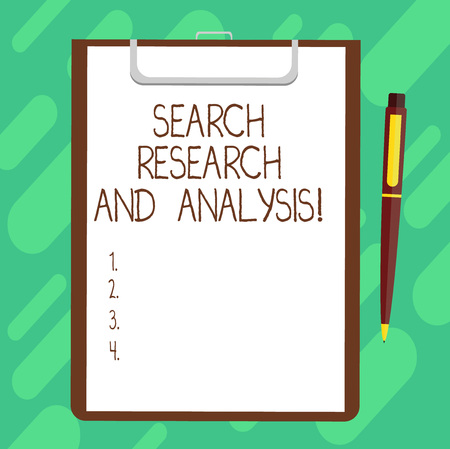 Conceptual hand writing showing Search Research And Analysis. Business photo text Investigation data information analytics Sheet of Bond Paper on Clipboard with Ballpoint Pen Text Space 免版税图像
