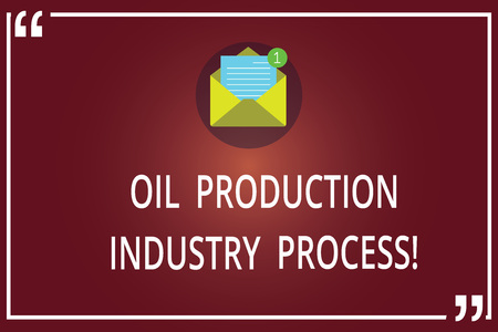 Word writing text Oil Production Industry Process. Business concept for Petroleum company industrial processing Open Envelope with Paper New Email Message inside Quotation Mark Outline Stock Photo
