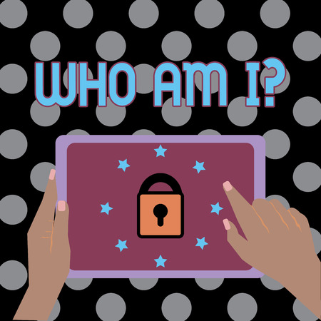 Conceptual hand writing showing Who Am I question. Business photo text when being asked about your name status and nationality Female Hand Tablet device with lock and stars icon on screen Stock Photo
