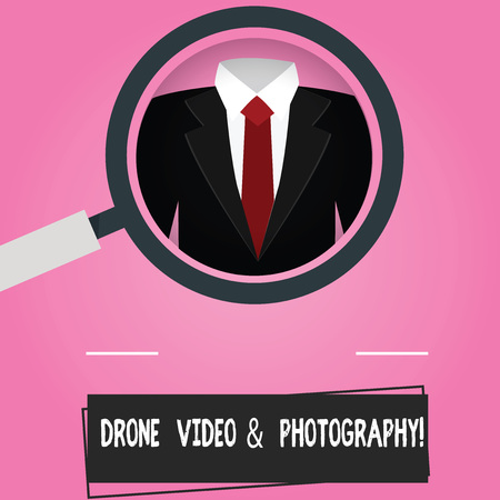 Text sign showing Drone Video And Photography. Conceptual photo Modern aerial camera technology advance Magnifying Glass photo Enlarging Inspecting a Tuxedo and Label Tag Below Banco de Imagens