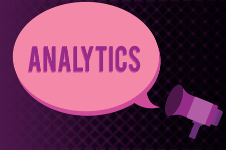 Conceptual hand writing showing Analytics. Business photo showcasing systematic computational analysis of data statistics or infos Megaphone coming out of on envelope announcing and talking