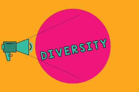 Text sign showing Diversity. Conceptual photo state of being diverse range different things miscellany mixture Megaphone with Pitch Power Level Volume Sound Icon and Blank Circle