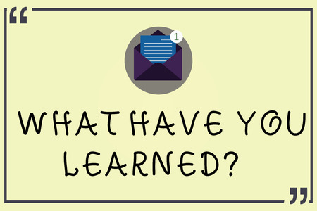 Writing note showing What Have You Learnedquestion. Business photo showcasing Tell us your new knowledge experience Open Envelope with Paper Email Message inside Quotation Mark
