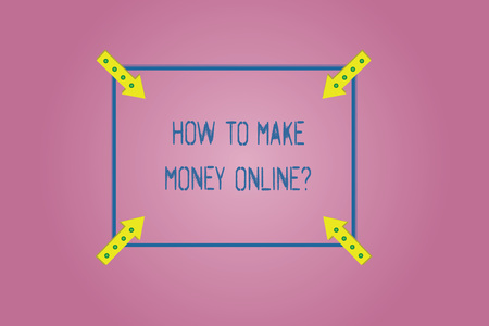 Word writing text How To Make Money Onlinequestion. Business concept for Strategies to get earnings on the internet Square Outline with Corner Arrows Pointing Inwards on Color Background Reklamní fotografie