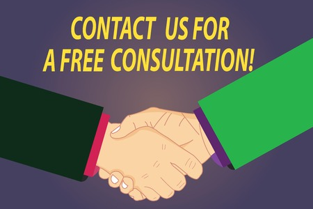 Text sign showing Contact Us For A Free Consultation. Conceptual photo We are available for giving support Hu analysis Shaking Hands on Agreement Greeting Gesture Sign of Respect photo 免版税图像