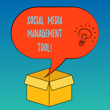 Handwriting text Social Media Management Tool. Concept meaning Application for analysisage your online networks Idea icon Inside Blank Halftone Speech Bubble Over an Open Carton Box