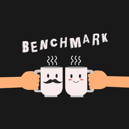 Conceptual hand writing showing Benchmark. Business photo showcasing standard or point of reference against which things compared Hu analysis hand Holding Male Female His and Hers Mugs icon