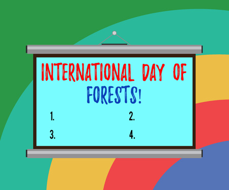 Conceptual hand writing showing International Day Of Forests. Business photo text Natural environment protection celebration Portable Wall Projection Screen for Conference Presentation