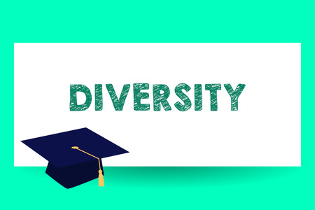 Text sign showing Diversity. Conceptual photo state of being diverse range different things miscellany mixture Graduation hat with Tassel Scholar Academic cap Headgear for Graduates