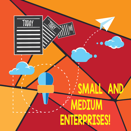 Writing note showing Small And Medium Enterprises. Business photo showcasing SME growth of startups new business analysisagement Information Passing through Cloud Hosting Fast delivery of Data Stock Photo