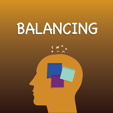 Writing note showing Balancing. Business photo showcasing put something in a steady position so that it does not fall Sticky Note analysis Face Profile Silhouette Math sign above