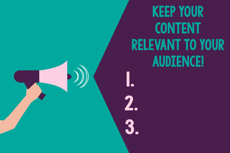 Writing note showing Keep Your Content Relevant To Your Audience. Business photo showcasing Good marketing strategies Hu analysis Hand with Megaphone Sound Effect icon Text Space Stok Fotoğraf
