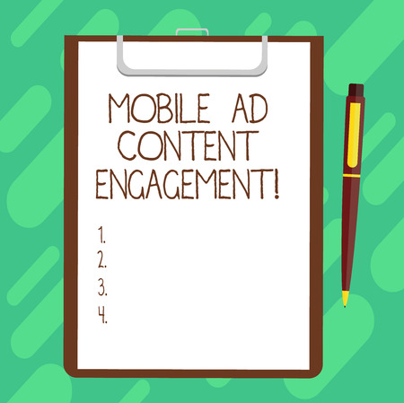 Conceptual hand writing showing Mobile Ad Content Engagement. Business photo text Social media advertising promotion strategies Sheet of Bond Paper on Clipboard with Ballpoint Pen Text Space 스톡 콘텐츠