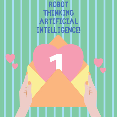 Writing note showing Robot Thinking Artificial Intelligence. Business photo showcasing AI modern futuristic chat bot Female Hu analysis Hand Holding Envelope Heart coming out