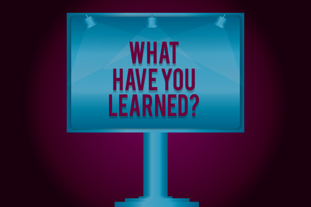 Text sign showing What Have You Learnedquestion. Conceptual photo Tell us your new knowledge experience Blank Lamp Lighted Color Signage Outdoor Ads photo Mounted on One Leg Stock Photo