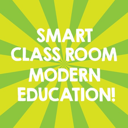 Handwriting text Smart Class Room Modern Education. Concept meaning New technologies for school and learning Sunburst photo Two Tone Explosion Effect for Announcement Poster Ads