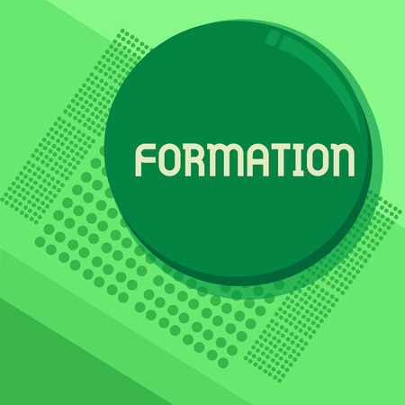 Handwriting text Formation. Concept meaning action of forming or process of being formed especially sport Circular Round Halftone Button Shining Reflecting Glossy with Shadow Stock Photo