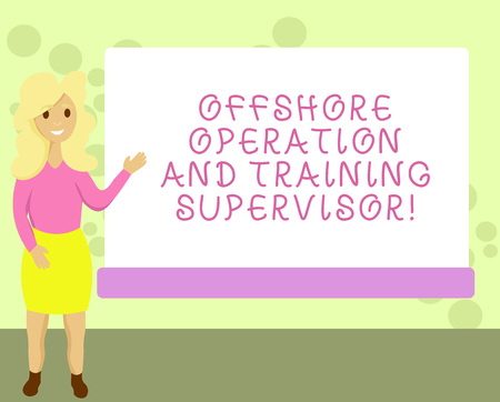 Conceptual hand writing showing Offshore Operation And Training Supervisor. Business photo showcasing Oil and gas industry engineering Female Hu analysis Presenting Rectangular Blank Whiteboard