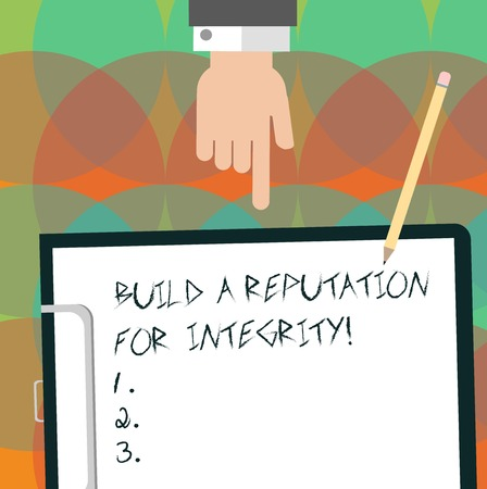 Conceptual hand writing showing Build A Reputation For Integrity. Business photo text Obtain good feedback based on ethics Hu analysis Hand Pointing Down to Clipboard with Paper and Pencil Фото со стока
