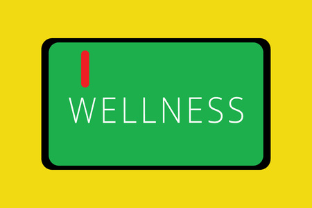 Word writing text Wellness. Business concept for state of being in good health especially as actively pursued goal Tablet Mobile Smartphone Cellular Device Screen with red linear button