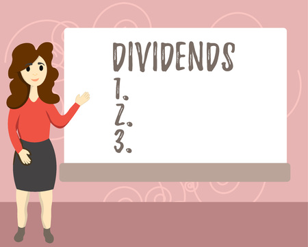 Conceptual hand writing showing Dividends. Business photo text sum of money paid regularly by company to shareholders out profits Female Hu analysis Presenting Rectangular Blank Whiteboard