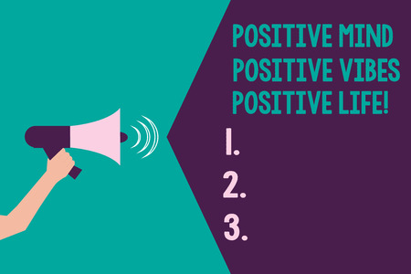 Writing note showing Positive Mind Positive Vibes Positive Life. Business photo showcasing Motivation inspiration to live Hu analysis Hand with Megaphone Sound Effect icon Text Space Stock Photo