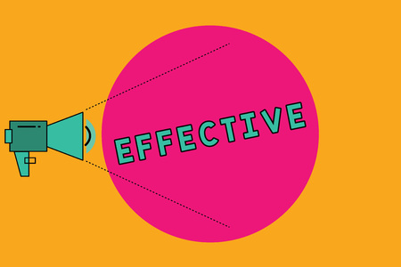 Text sign showing Effective. Conceptual photo successful in producing desired or intended result productive Megaphone with Pitch Power Level Volume Sound Icon and Blank Circle