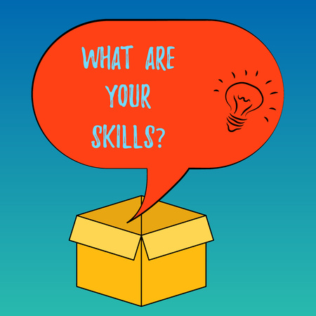 Handwriting text What Are Your Skillsquestion. Concept meaning Tell us your abilities knowledge experience Idea icon Inside Blank Halftone Speech Bubble Over an Open Carton Box